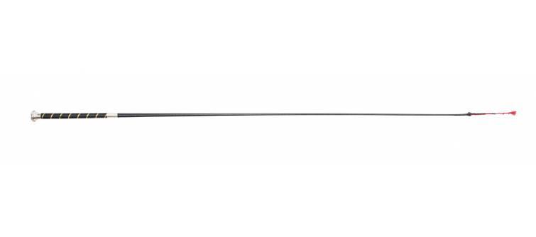 R221 Lacquered Cotton Braid, Spiral Gold Line Handle, 4 Plait Cotton and Leather Lash