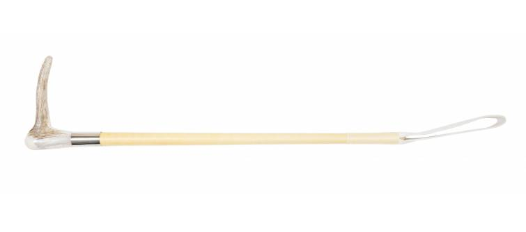 "H12/DH 20"" / 50cm Hunt Servants Crop, Polished Cotton braid, Deer Hook, Buff Leather Keeper"